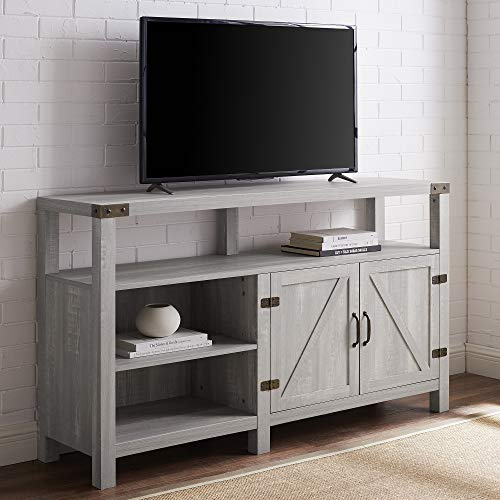Walker Edison Furniture Company Farmhouse Barn Wood Tall Universal Stand For TVs Up To 64 Flat Screen Living Room Storage Cabinet Doors And Shelves Entertainment Center 58 Inch Stone Grey 0