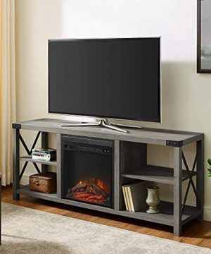 Walker Edison Furniture Company Farmhouse Wood And Metal Fireplace Stand With Open 65 Flat Screen Universal TV Console Living Room Storage Shelves Entertainment Center 60 Inch Gray Wash 0 300x360