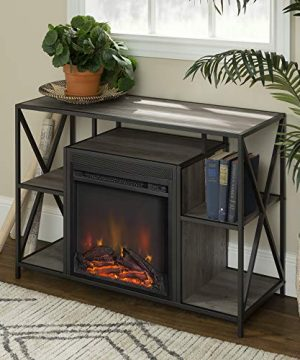 Walker Edison Furniture Company Industrial Farmhouse Metal X And Wood Universal Fireplace Stand With Open Shelves TVs Up To 43 Flat Screen Living Room Storage Entertainment Center 40 Inch Grey 0 300x360