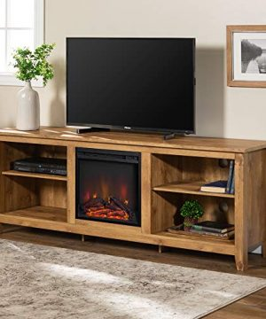 Walker Edison Furniture Company Minimal Farmhouse Wood Fireplace Universal Stand For TVs Up To 80 Flat Screen Living Room Storage Shelves Entertainment Center 70 Inch Barnwood 0 300x360
