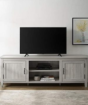 Walker Edison Furniture Company Modern Farmhouse Grooved Wood Stand With Cabinet Doors For TVs Up To 80 Living Room Storage Shelves Entertainment Center 70 Inch Stone Grey 0 0 300x360