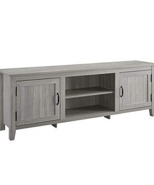 Walker Edison Furniture Company Modern Farmhouse Grooved Wood Stand With Cabinet Doors For TVs Up To 80 Living Room Storage Shelves Entertainment Center 70 Inch Stone Grey 0 1 300x360