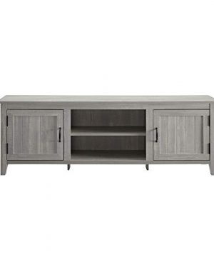 Walker Edison Furniture Company Modern Farmhouse Grooved Wood Stand With Cabinet Doors For TVs Up To 80 Living Room Storage Shelves Entertainment Center 70 Inch Stone Grey 0 2 300x360