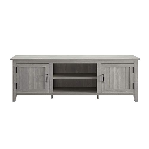 Walker Edison Furniture Company Modern Farmhouse Grooved Wood Stand With Cabinet Doors For TVs Up To 80 Living Room Storage Shelves Entertainment Center 70 Inch Stone Grey 0 2