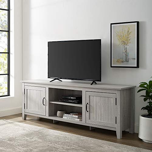 Walker Edison Furniture Company Modern Farmhouse Grooved Wood Stand With Cabinet Doors For TVs Up To 80 Living Room Storage Shelves Entertainment Center 70 Inch Stone Grey 0