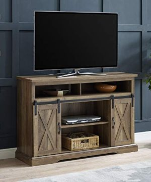 Walker Edison Furniture Company Modern Farmhouse Sliding Barndoor Wood Tall Universal Stand For TVs Up To 58 Flat Screen Living Room Storage Cabinet Entertainment Center 33 Inches Rustic Oak 0 300x360