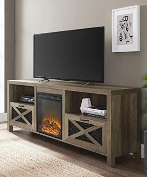Walker Edison Furniture Company Modern Farmhouse X Wood Fireplace Universal Stand For TVs Up To 80 Flat Screen Living Room Storage Shelves Entertainment Center 70 Reclaimed Barnwood 0 300x360