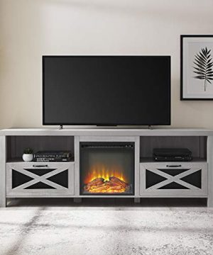 Walker Edison Furniture Company Modern Farmhouse X Wood Fireplace Universal Stand For TVs Up To 80 Living Room Storage Shelves Entertainment Center 70 Inch Stone Grey 0 0 300x360