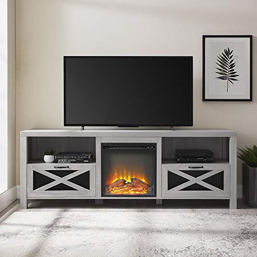 Walker Edison Furniture Company Modern Farmhouse X Wood Fireplace Universal Stand For TVs Up To 80 Living Room Storage Shelves Entertainment Center 70 Inch Stone Grey 0 0