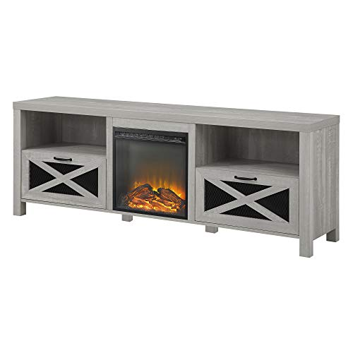 Walker Edison Furniture Company Modern Farmhouse X Wood Fireplace Universal Stand For TVs Up To 80 Living Room Storage Shelves Entertainment Center 70 Inch Stone Grey 0 1