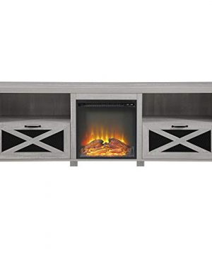 Walker Edison Furniture Company Modern Farmhouse X Wood Fireplace Universal Stand For TVs Up To 80 Living Room Storage Shelves Entertainment Center 70 Inch Stone Grey 0 2 300x360