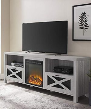 Walker Edison Furniture Company Modern Farmhouse X Wood Fireplace Universal Stand For TVs Up To 80 Living Room Storage Shelves Entertainment Center 70 Inch Stone Grey 0 300x360