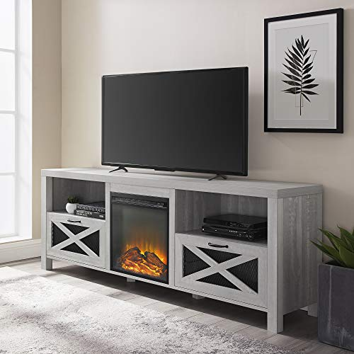 Walker Edison Furniture Company Modern Farmhouse X Wood Fireplace Universal Stand For TVs Up To 80 Living Room Storage Shelves Entertainment Center 70 Inch Stone Grey 0