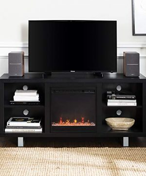 Walker Edison Furniture Company Modern Wood And Metal Fireplace Stand For TVs Up To 64 Flat Screen Living Room Storage Shelves Entertainment Center Black 0 0 300x360