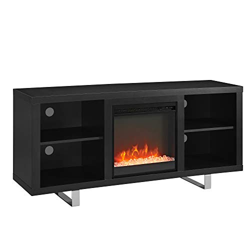 Walker Edison Furniture Company Modern Wood And Metal Fireplace Stand For TVs Up To 64 Flat Screen Living Room Storage Shelves Entertainment Center Black 0 5