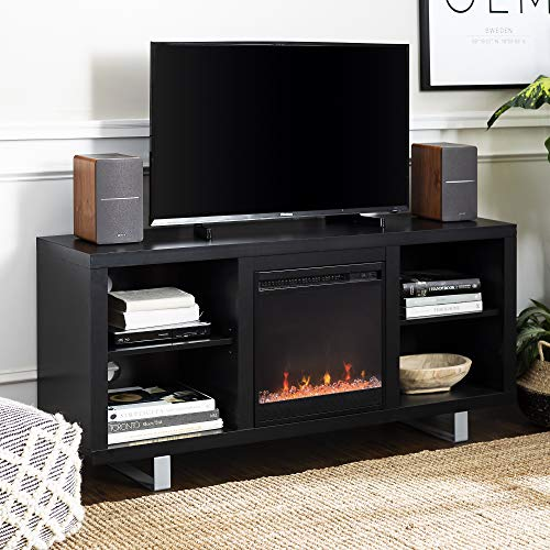 Walker Edison Furniture Company Modern Wood And Metal Fireplace Stand For TVs Up To 64 Flat Screen Living Room Storage Shelves Entertainment Center Black 0