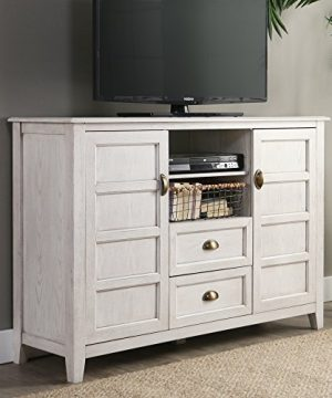 Walker Edison Furniture Company Rustic Farmhouse Universal Stand With Open TVs Up To 58 Flat Screen Living Room Storage Entertainment Center 52 Inch White Wash 0 0 300x360