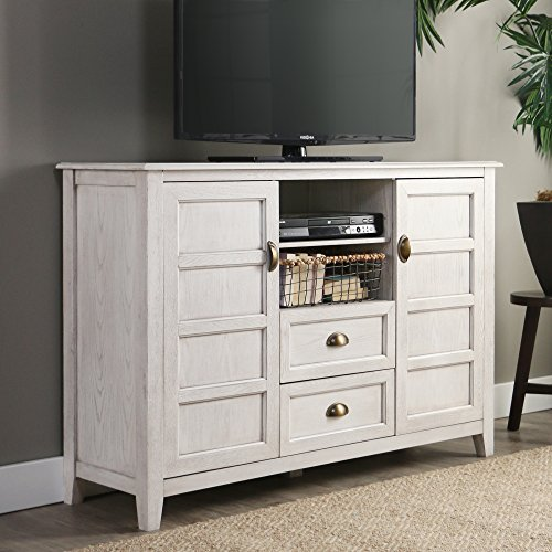 Walker Edison Furniture Company Rustic Farmhouse Universal Stand With Open TVs Up To 58 Flat Screen Living Room Storage Entertainment Center 52 Inch White Wash 0 0