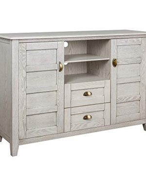 Walker Edison Furniture Company Rustic Farmhouse Universal Stand With Open TVs Up To 58 Flat Screen Living Room Storage Entertainment Center 52 Inch White Wash 0 2 300x360