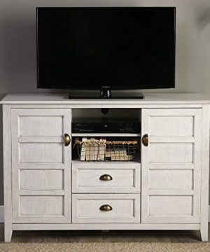 Walker Edison Furniture Company Rustic Farmhouse Universal Stand With Open TVs Up To 58 Flat Screen Living Room Storage Entertainment Center 52 Inch White Wash 0 3 300x360
