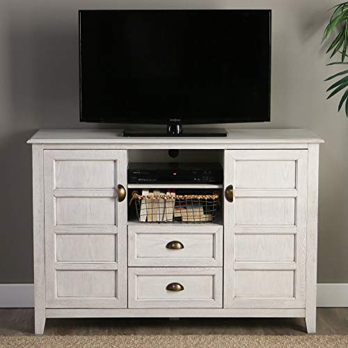 Walker Edison Furniture Company Rustic Farmhouse Universal Stand With Open TVs Up To 58 Flat Screen Living Room Storage Entertainment Center 52 Inch White Wash 0 3