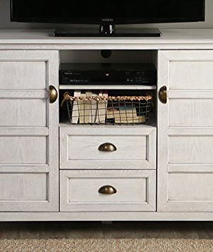 Walker Edison Furniture Company Rustic Farmhouse Universal Stand With Open TVs Up To 58 Flat Screen Living Room Storage Entertainment Center 52 Inch White Wash 0 300x356