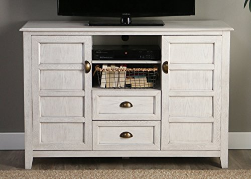 Walker Edison Furniture Company Rustic Farmhouse Universal Stand With Open TVs Up To 58 Flat Screen Living Room Storage Entertainment Center 52 Inch White Wash 0