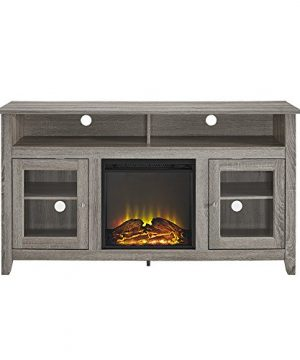 Walker Edison Furniture Company Rustic Wood And Glass Tall Fireplace Stand For TVs Up To 64 Flat Screen Living Room Storage Cabinet Doors And Shelves Entertainment Center 32 Inches Driftwood 0 2 300x360