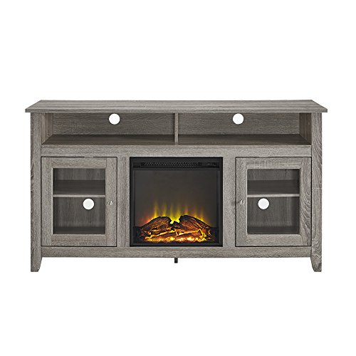 Walker Edison Furniture Company Rustic Wood And Glass Tall Fireplace Stand For TVs Up To 64 Flat Screen Living Room Storage Cabinet Doors And Shelves Entertainment Center 32 Inches Driftwood 0 2