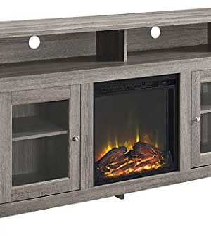Walker Edison Furniture Company Rustic Wood And Glass Tall Fireplace Stand For TVs Up To 64 Flat Screen Living Room Storage Cabinet Doors And Shelves Entertainment Center 32 Inches Driftwood 0 3 300x357