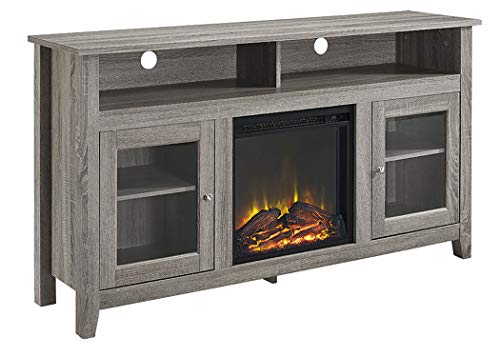 Walker Edison Furniture Company Rustic Wood And Glass Tall Fireplace Stand For TVs Up To 64 Flat Screen Living Room Storage Cabinet Doors And Shelves Entertainment Center 32 Inches Driftwood 0 3