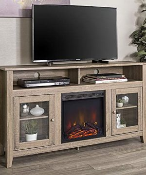 Walker Edison Furniture Company Rustic Wood And Glass Tall Fireplace Stand For TVs Up To 64 Flat Screen Living Room Storage Cabinet Doors And Shelves Entertainment Center 32 Inches Driftwood 0 300x360