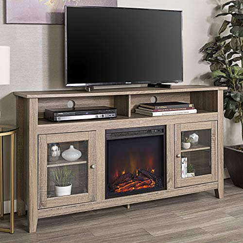 Walker Edison Furniture Company Rustic Wood And Glass Tall Fireplace Stand For TVs Up To 64 Flat Screen Living Room Storage Cabinet Doors And Shelves Entertainment Center 32 Inches Driftwood 0