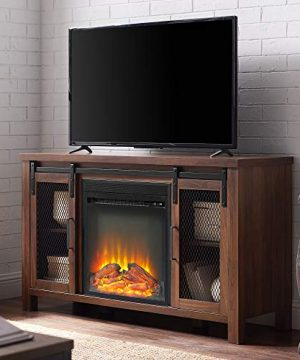 Walker Edison Furniture Company Tall Farmhouse Metal Mesh Barndoor And Wood Universal Fireplace Stand Or TVs Up To 55 Flat Screen Living Room Storage Entertainment Center 48 Inch Walnut Brown 0 300x360