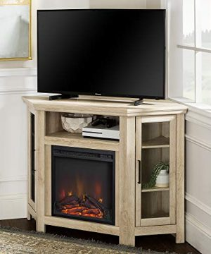 Walker Edison Furniture Company Tall Wood Corner Fireplace Stand For TVs Up To 55 Flat Screen Living Room Entertainment Center 48 Inch White Oak 0 0 300x360
