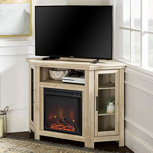 Walker Edison Furniture Company Tall Wood Corner Fireplace Stand For TVs Up To 55 Flat Screen Living Room Entertainment Center 48 Inch White Oak 0 0