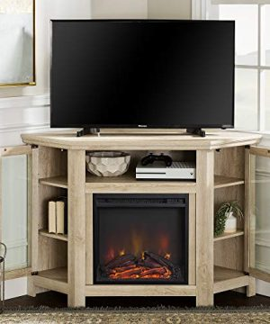 Walker Edison Furniture Company Tall Wood Corner Fireplace Stand For TVs Up To 55 Flat Screen Living Room Entertainment Center 48 Inch White Oak 0 1 300x360