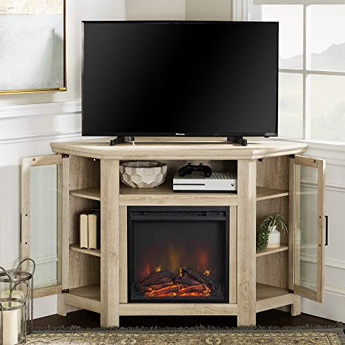 Walker Edison Furniture Company Tall Wood Corner Fireplace Stand For TVs Up To 55 Flat Screen Living Room Entertainment Center 48 Inch White Oak 0 1