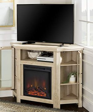 Walker Edison Furniture Company Tall Wood Corner Fireplace Stand For TVs Up To 55 Flat Screen Living Room Entertainment Center 48 Inch White Oak 0 2 300x360