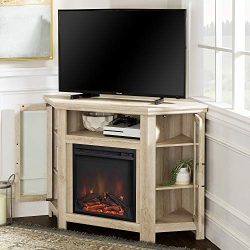 Walker Edison Furniture Company Tall Wood Corner Fireplace Stand For TVs Up To 55 Flat Screen Living Room Entertainment Center 48 Inch White Oak 0 2