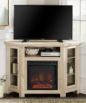 Walker Edison Furniture Company Tall Wood Corner Fireplace Stand For TVs Up To 55 Flat Screen Living Room Entertainment Center 48 Inch White Oak 0 300x360