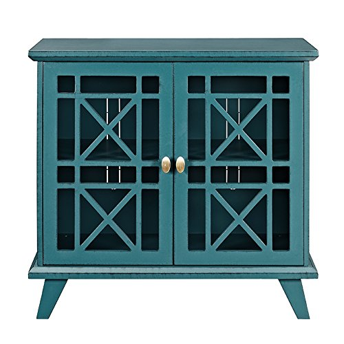 Walker Edison Furniture Company Wood Accent Buffet Sideboard Serving Storage Cabinet With Doors Entryway Kitchen Dining Console Living Room 32 Inch Blue 0 0