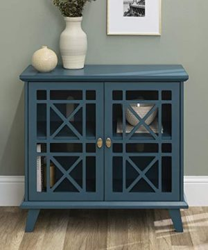 Walker Edison Furniture Company Wood Accent Buffet Sideboard Serving Storage Cabinet With Doors Entryway Kitchen Dining Console Living Room 32 Inch Blue 0 3 300x360