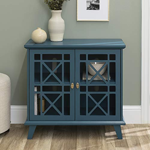Walker Edison Furniture Company Wood Accent Buffet Sideboard Serving Storage Cabinet With Doors Entryway Kitchen Dining Console Living Room 32 Inch Blue 0 3
