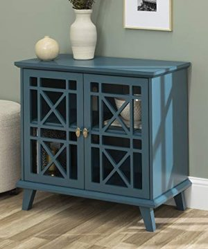 Walker Edison Furniture Company Wood Accent Buffet Sideboard Serving Storage Cabinet With Doors Entryway Kitchen Dining Console Living Room 32 Inch Blue 0 300x360