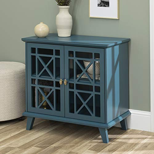 Walker Edison Furniture Company Wood Accent Buffet Sideboard Serving Storage Cabinet With Doors Entryway Kitchen Dining Console Living Room 32 Inch Blue 0