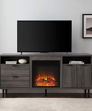 Walker Edison Modern Wood Fireplace TV Stand With Cabinet Doors And Drawers For TVs Up To 65 Flat Screen Universal TV Console Living Room Storage Shelves Entertainment Center 60 Inch Slate Grey 0 0 300x360