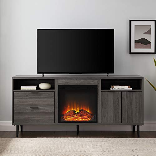 Walker Edison Modern Wood Fireplace TV Stand With Cabinet Doors And Drawers For TVs Up To 65 Flat Screen Universal TV Console Living Room Storage Shelves Entertainment Center 60 Inch Slate Grey 0 0