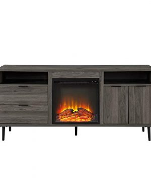 Walker Edison Modern Wood Fireplace TV Stand With Cabinet Doors And Drawers For TVs Up To 65 Flat Screen Universal TV Console Living Room Storage Shelves Entertainment Center 60 Inch Slate Grey 0 2 300x360