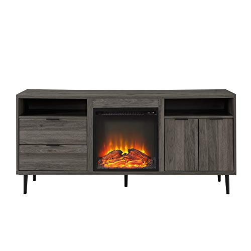 Walker Edison Modern Wood Fireplace TV Stand With Cabinet Doors And Drawers For TVs Up To 65 Flat Screen Universal TV Console Living Room Storage Shelves Entertainment Center 60 Inch Slate Grey 0 2